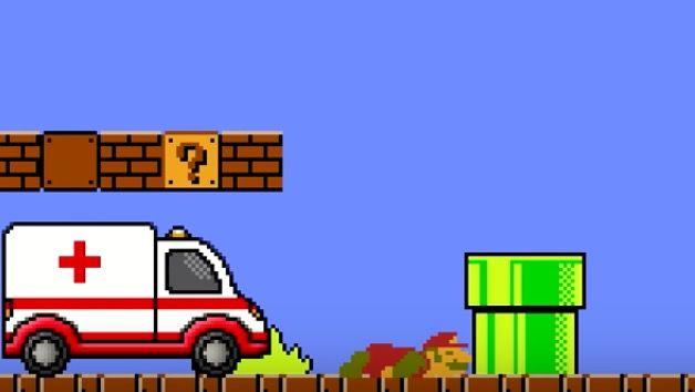 マリオが救急車で緊急搬送されるも、車イスで復活(動画あり)