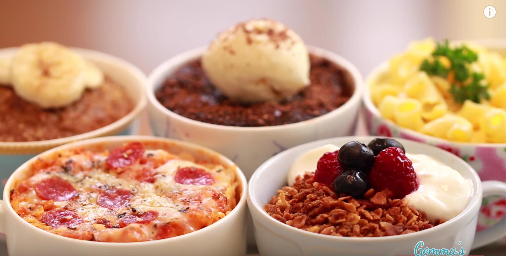 マグカップと電子レンジを使った「5つのレシピ」ピザ、マカロニ、グラノーラetc・・・