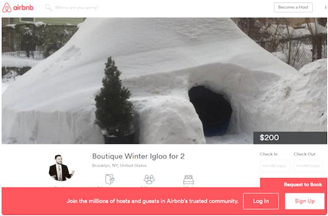 大雪のNY。「かまくら」 を作り、1泊2万円で貸しだそうとしたら・・・