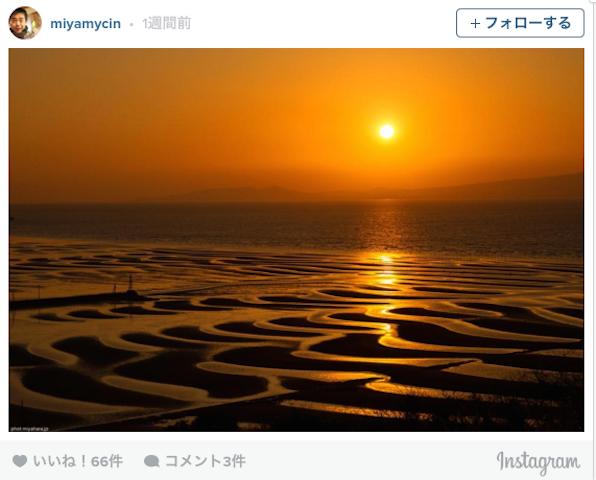年に数日だけしか見れない。熊本県にある「御輿来海岸」の干潟と夕陽のコラボが神秘的すぎる・・・