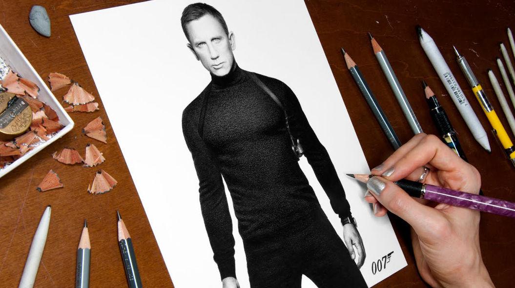 鉛筆だけで描いた「ジェームズ・ボンド」が上手すぎる(動画あり)