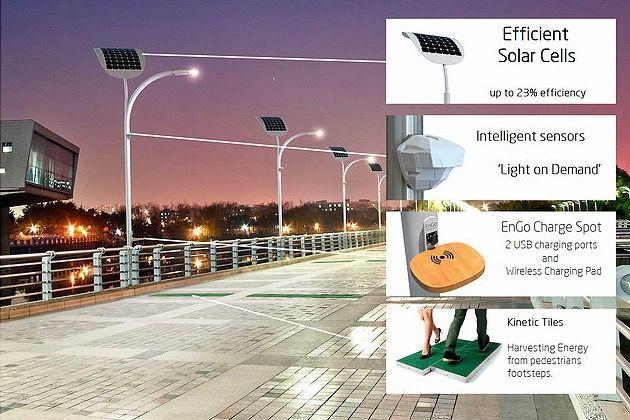 ソーラーだけじゃない!通行人の「歩く力」もエネルギーになる世界初の街路灯