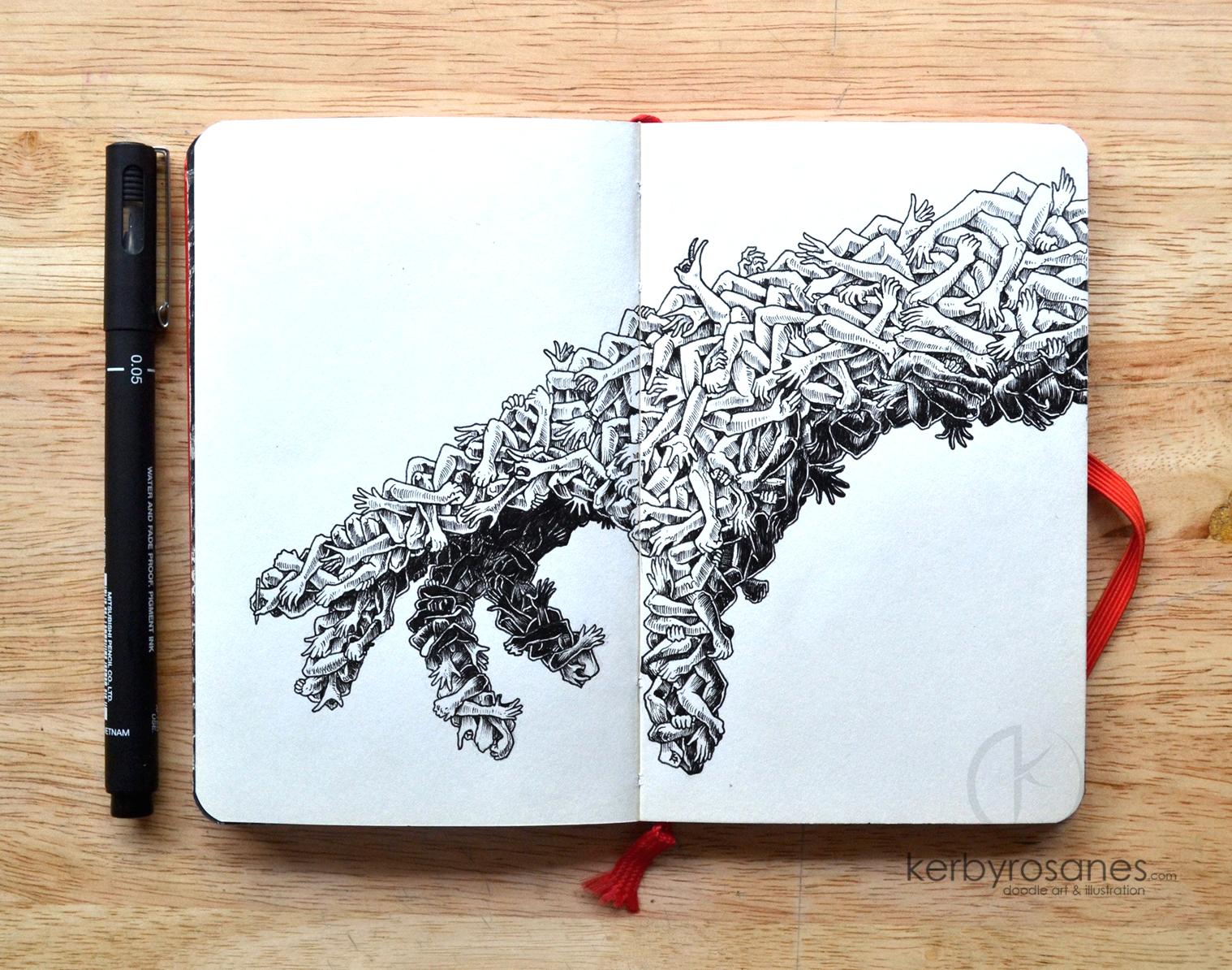 その才能に嫉妬する。極細黒ペンのみで描き上げた、世界一の「イタズラ書き」