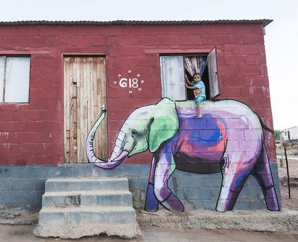 【写真16枚】南アフリカの小さな村に現れた「幸せを運ぶゾウ」