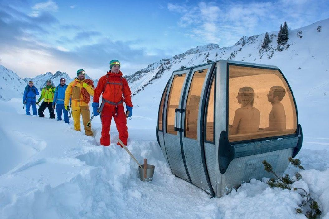 ドイツのサウナ好きが、スキー場のゴンドラを「モバイルサウナ」にリノベーション!
