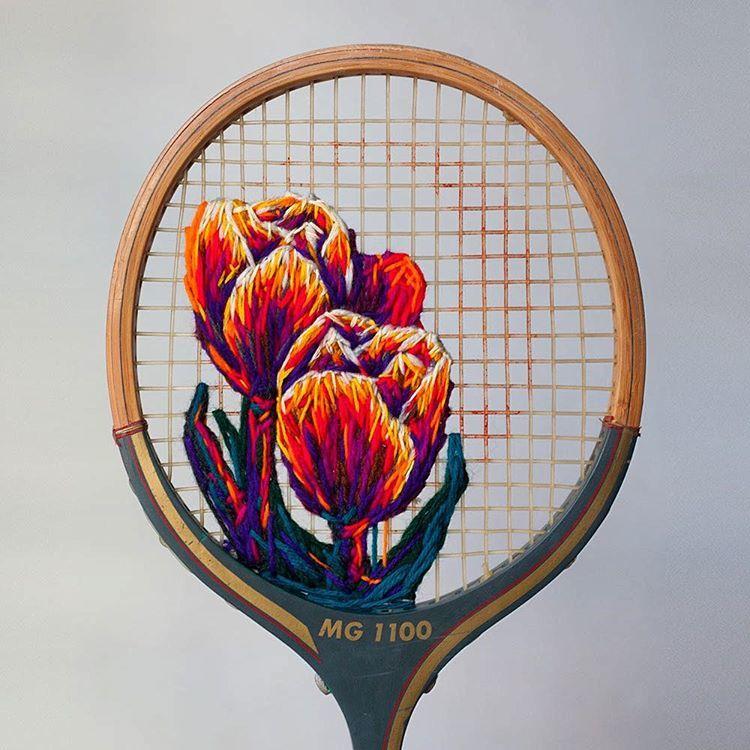 テニスラケットに刺繍!?意外な組み合わせが、めちゃ素敵!