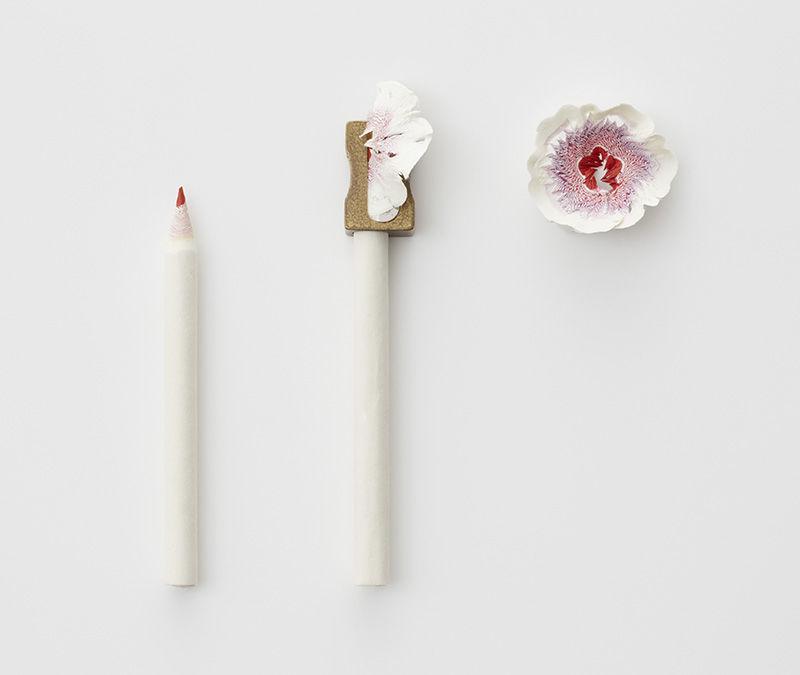 机の上にそっと咲く、鉛筆削りから生まれた「紙の花」