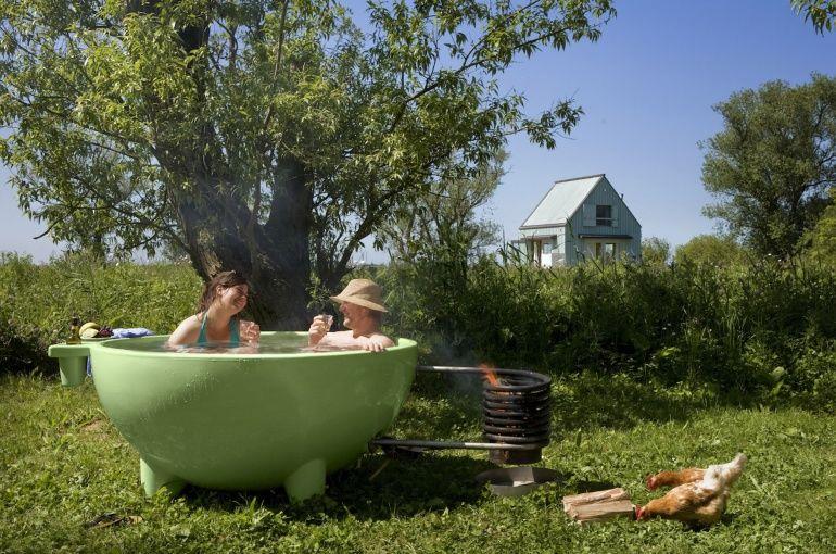 薪でお湯が沸かせる「ポータブルお風呂」がかわいい〜!