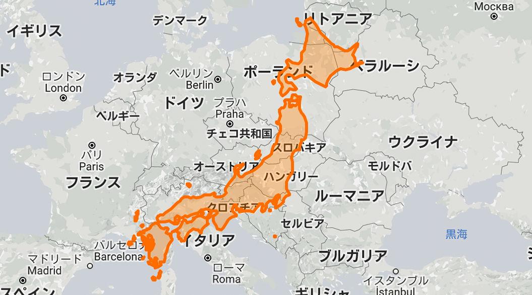 日本はこんなにも広かった。各国の「本当の大きさ」がわかるウェブサイトは、絶対に試したくなる!
