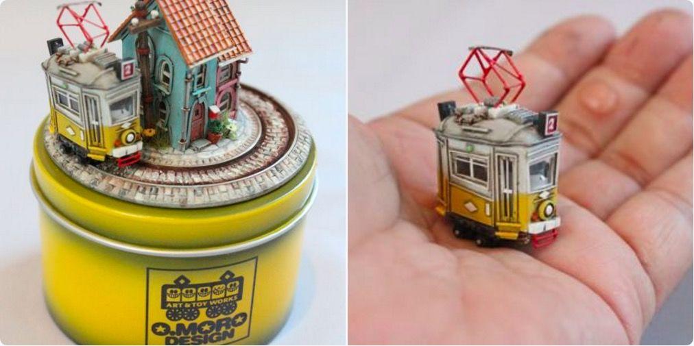 小さな電車がくるくる走り回る「缶詰ジオラマ」がかわいい!