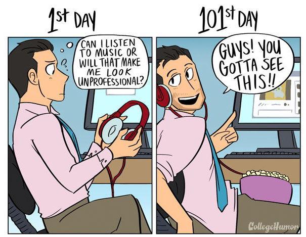 はたらき方は時間とともに。出社1日目と101日目のおもしろい変化。