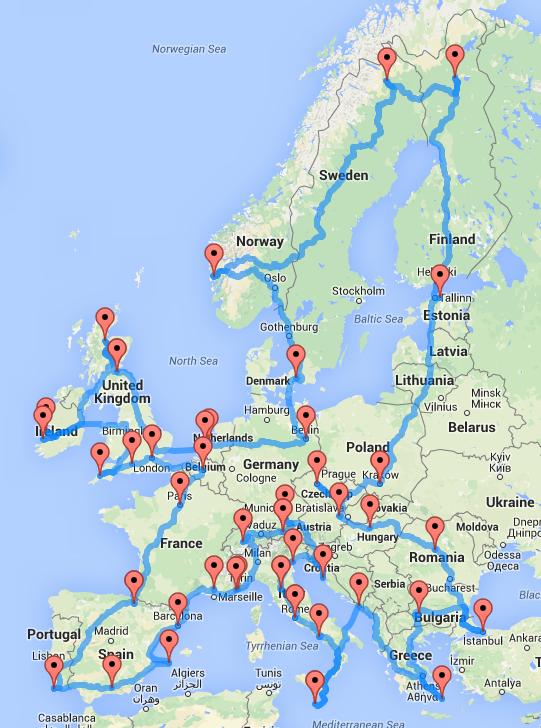 超弾丸!たった14日間でヨーロッパ中の名所を巡るドライブルート