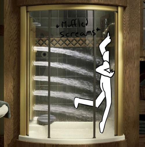 「お金持ちのシャワールームって、なんか変じゃない?」という思いをイラストにしてみた