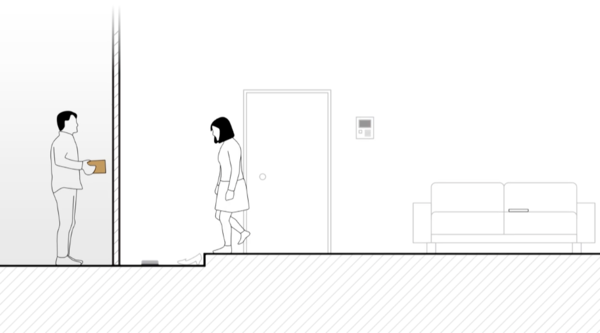 玄関に置かれた「Tobiishi」が、地味ながらも気が利いてる。
