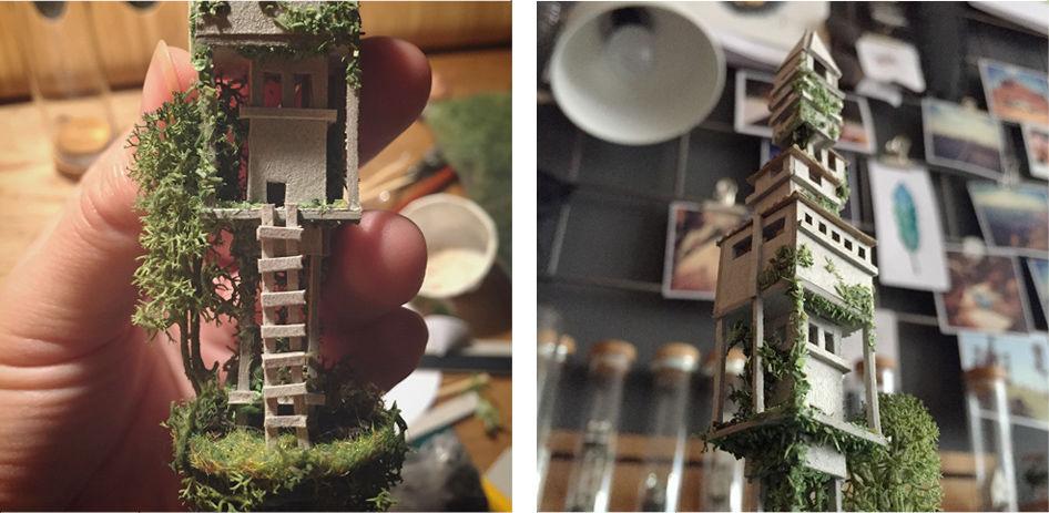 試験管に小さな街を詰め込んだ作品「MICRO MATTER」